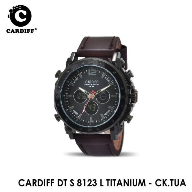 jam tangan cardiff, jam tangan cardiff kulit, jam tangan cardiff leather, jam tangan cardiff dual time